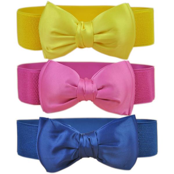 Trendy Fashion Wide Waist Belt High Quality Bowknot Elastic Women Belt