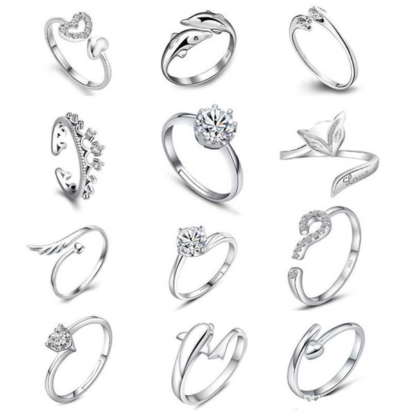 925 Sterling Silver Jewerly Rings Dolphins Dragonfly Wings Of The Angel Love Fox Butterfly Opening Adjustable Ring For Women KKA1963