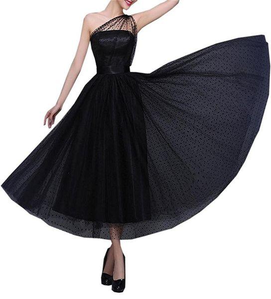 Vintage 1950's Evening Prom Dresses for Women Ankle Length One Shoulder Formal Party Dress Tea Length Special Occasion Dresses