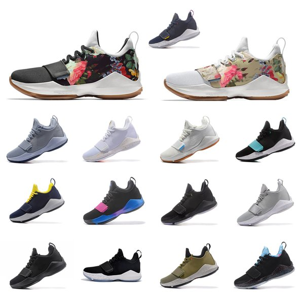 Cheap new arrival Men PG 1 basketball shoes 1s white Floral Flower Black Grey Paul George PG1 air flights sneakers boots for sale size 7 12