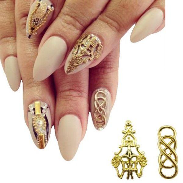 10pcs alliage nail art or 3d ongles décorations new arrive beaux charmes décorations ongles yx130
