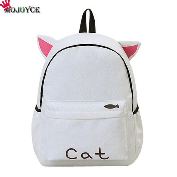 bags for teenage girls Cute Canvas Backpack Cartoon Cat School Bag For Teenage Girls Backpacks Casual Ears Large Bags Pink Mochila