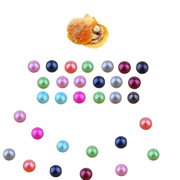 NEW MIXED 27 COLOR Rainbow red shell Akoya saltwater oyster 6-7MM round pearl DIY natural cultured suprise bithday party mum dady love gift