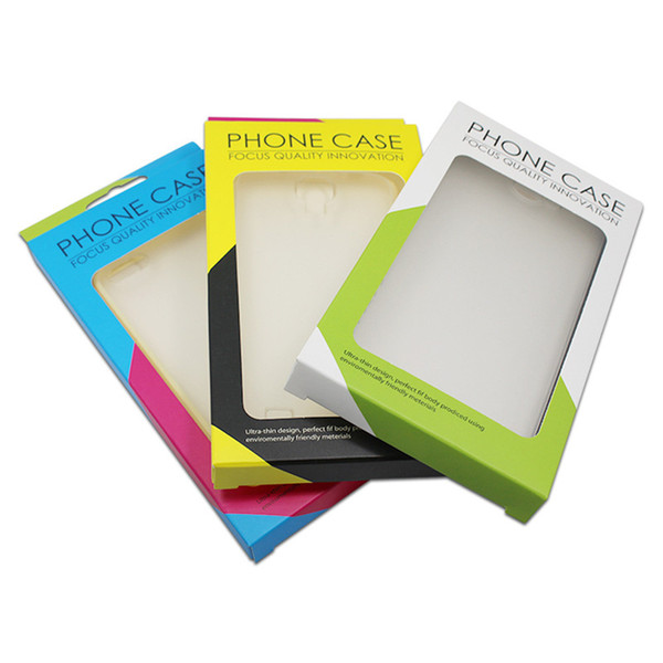 Cardboard Paper Box Packaging for Mobile Cell Phone Case Cover Packing with Hang Hole Window 9x16x1.5cm Wholesale LX0492