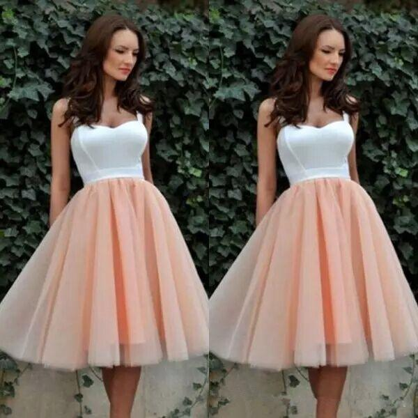 New Fashion Homecoming Dresses Two Tone Short Prom Dresses Tea Length White Top Cocktail Dresses with Straps Coral Tulle Skirt Party Gowns