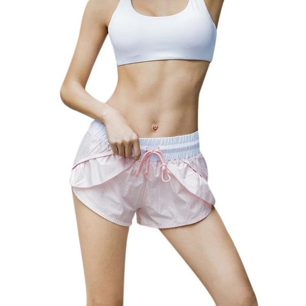 Female Gym Fitness Wear Hot Shorts Flounced Ruffled With Lining Breathable quick-drying Running Shorts Sexy Pink S-L