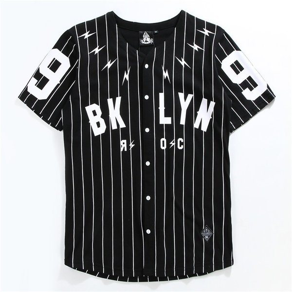 V Neck Man's Shirt Short Sleeve Cardigan Tshirt No. 99 Baseball Outerwear Black White Striped T sleeve