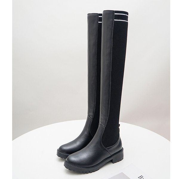 Knight female British handsome over-the-knee boots was thick with qiu dong with locomotive in large base their boots