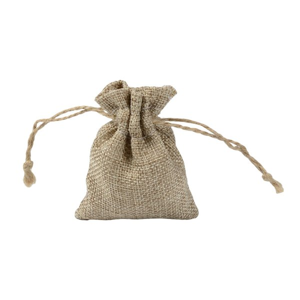 Natural Jute Drawstring Gifts Bags 7x9cm Small Jewelry Pouches Wedding Christmas Party Favors Packaging Bag Pouch