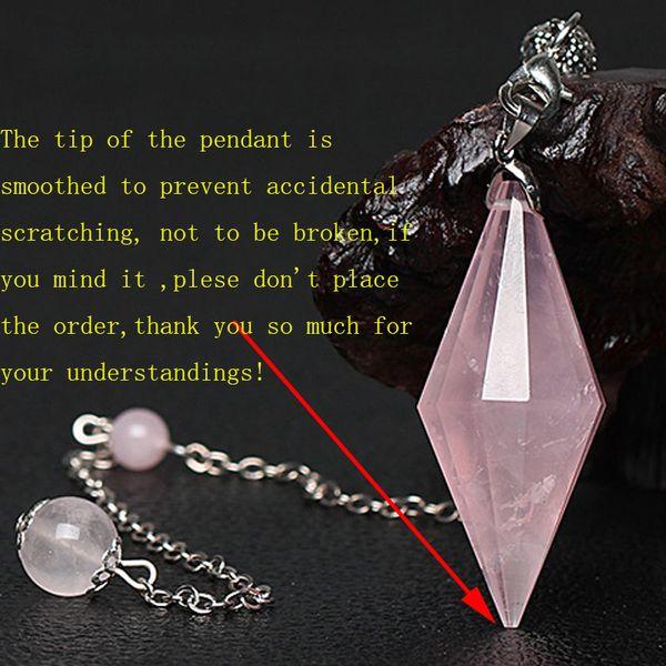 1 Stück Natürliche Rosenquarz Kristall Pendel Halskette Poliert Doppel Beendete Punkt Heilung Rosa Stein Anhänger Schmuck mit 22 cm Kupfer Kette