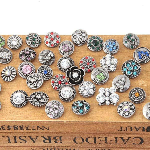 New 50pcs/lot Mixed Rhinestone Styles Metal Charms 12mm Snap Button Jewelry for Snaps Bracelet DIY Snap Jewelry#S