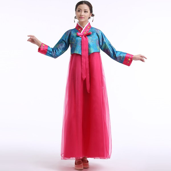 Traditional Korean Hanbok Women National Clothes Girl Stage Costume Cosplay Performance Wear Folk Dance Dress