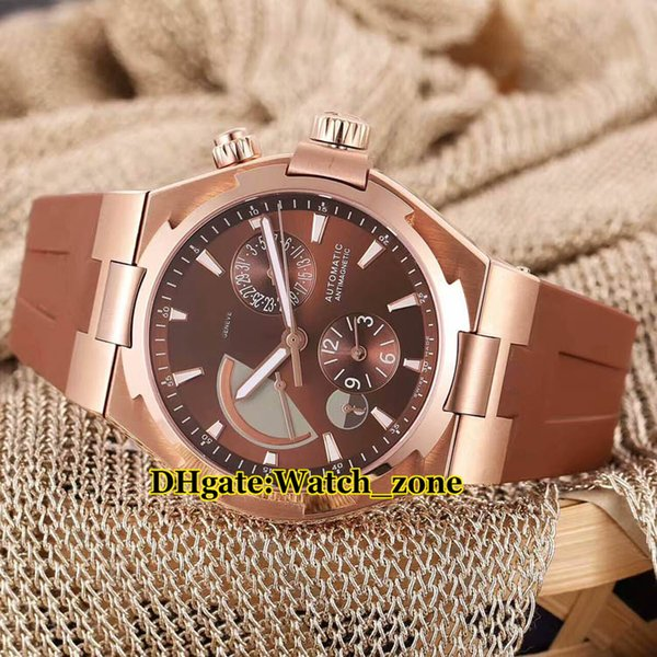 New Overseas Dual Time Power Reserve Automatic 47450/B01R-9229 Brown Dial Mens Watch Rose Gold 47450 Rubber Strap Watches