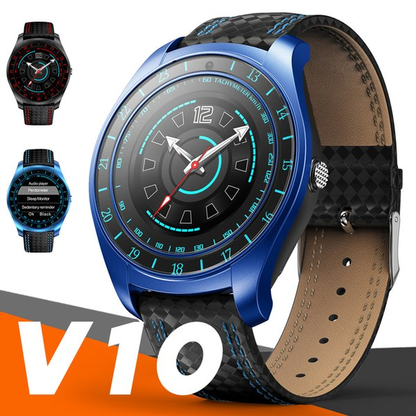 V10 Smart Watch Men with Camera Bluetooth Smartwatch Pedometer Heart Rate Monitor Sim Card Wristwatch for Android Phone