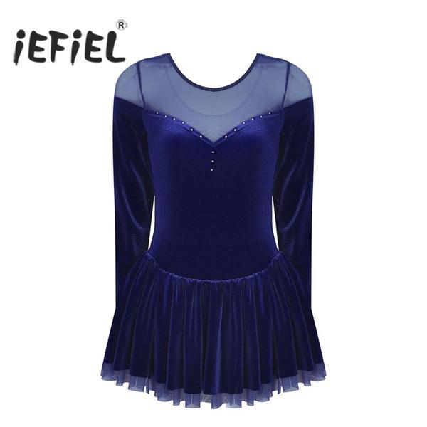 IEFiEL Frauen Erwachsene Langarm Samt Eiskunstlauf Kleid Ballett Tanz Gymnastik Trikot Ballerina Tänzerin Kleid Kostüme