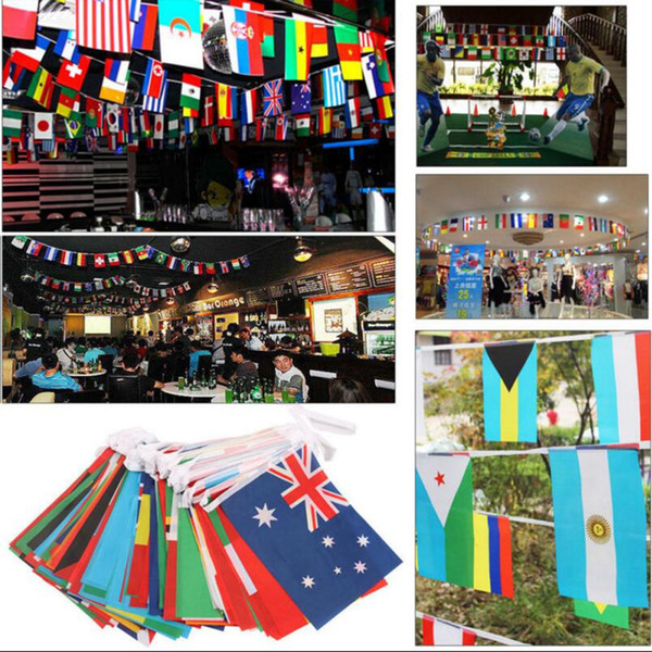 top popular 2018 Russia World Cup Football Match Flag 32pcs Banner Flag Team Flag Bar Club Decoration OOA3996 2019