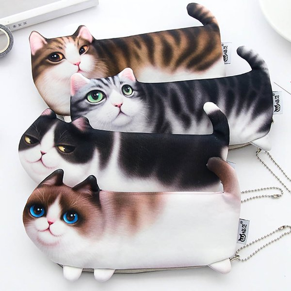 Simpatico cartone animato Cat Zipper Lovely 3 Feet Pen Pencil Case Stationeryery Pouch