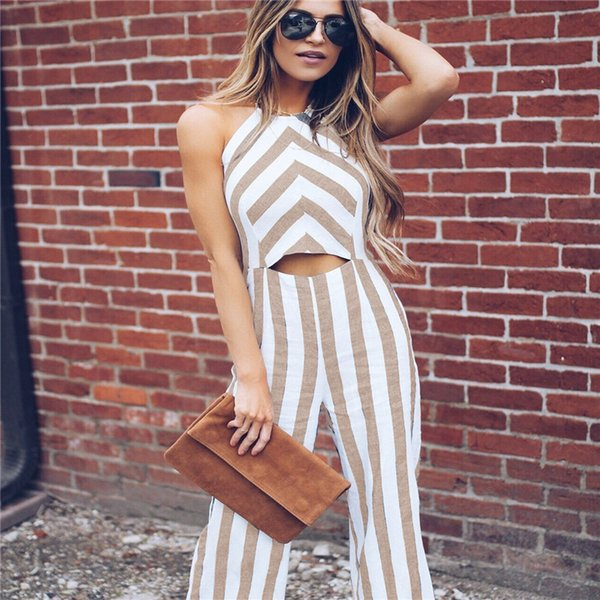 Miyahouse Summer Fashion Striped Backless Hollow Out Jumpsuits Women Sleeveless Jumpsuits For Female High Waist Lady