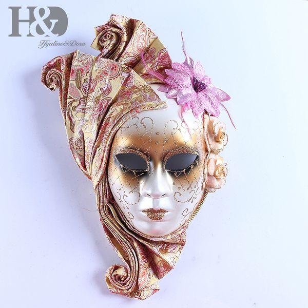 HD Pretty Mardi Gras Masquerade máscara veneciana femenina completa para fiesta / baile de baile / boda / decoración de la pared regalos de la novedad