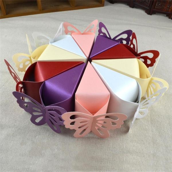 100PCS cône papillon Papier Boîtes De Bonbons Faveurs De Mariage Cadeau Doux Faveur Titulaire De La Fête D'anniversaire Baby Shower Supply