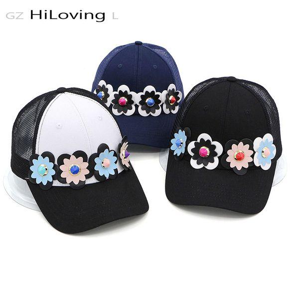 GZHilovingL 2017 Mujeres de Algodón Flor Red Gorra de Béisbol Pu de Cuero Gorras de Flores Para Mujer Niñas Moda Snapback Caps Para Verano