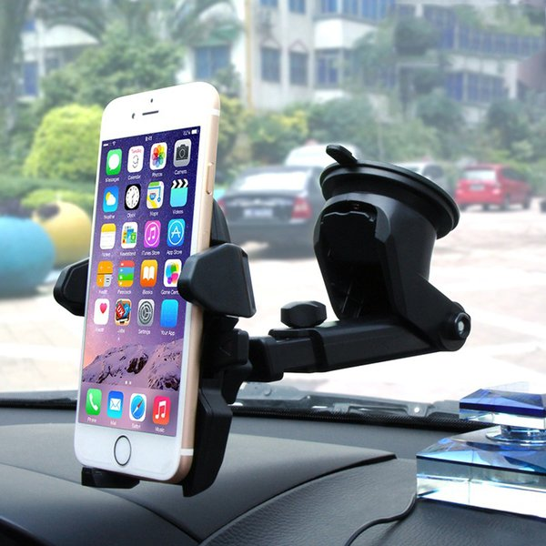 Car Windshield Dashboard Phone Holder universal Cell Phone Holders Suction Mount Stand Retractable 360 Degree rotation for iPhone X Samsung