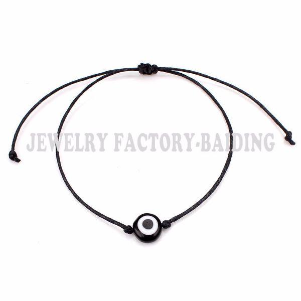 2017 new glass evil eye bead black blue bead adjustable bracelet wholesale christmas gifts handmade bracelet