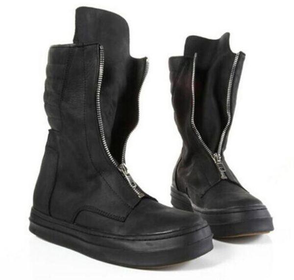 2018 botas de cuero de los hombres del dedo del pie redondo estilo británico alta hombres de la moda superior botas hombres botines cortos zip up hasta