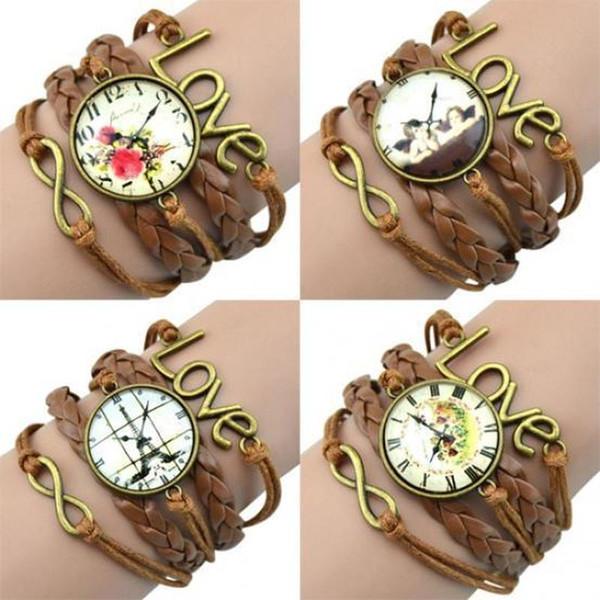 LASPERAL Bracelet Infinity Charm Love 8 Shape Weave PU Leather Faux Wrist Watch Bangle Bracelet Wrist Watches For Women Quartz