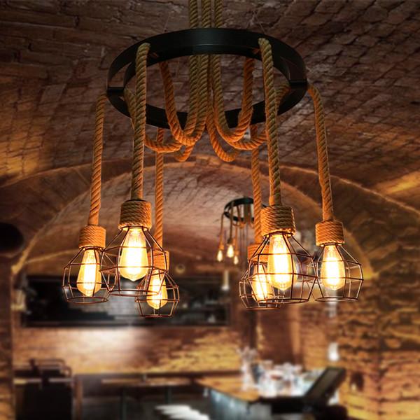Estilo americano gaiola de cânhamo Corda Industrial Pingente Industrial Lâmpada Criativa Hanglamp cafe club bar Edison levou lustres Luminárias Para Casa