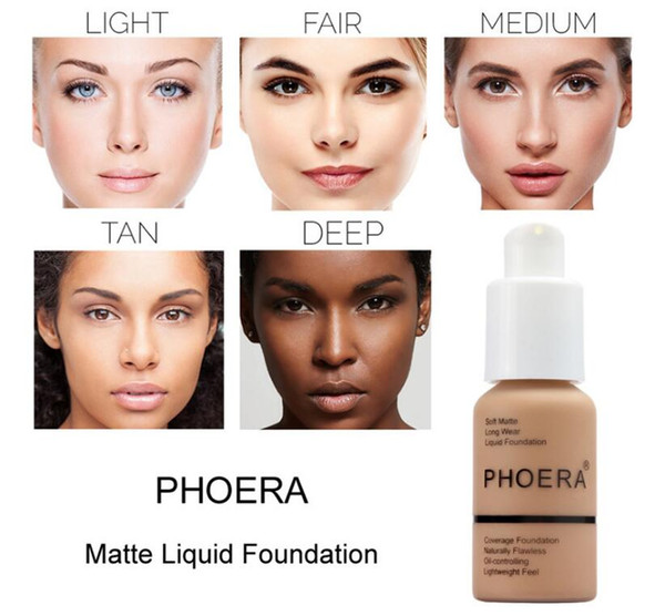 New Brand Makeup Foundation PHOERA Matte Oil-contral Liquid foundation 10 Colors Concealer DHL Free Shipping