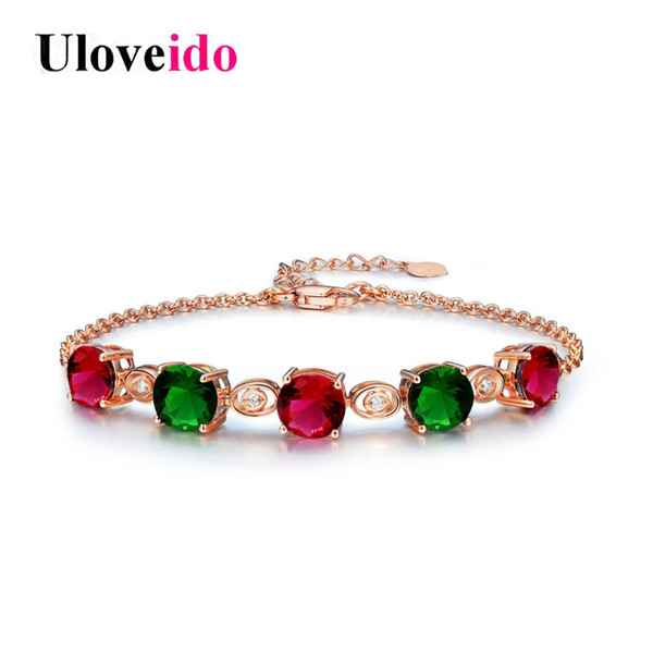 Uloveido Crystal Bracelets for Women 2018 Fashion Woman Bracelet Charms Rose Gold Color Jewelry Wedding Decoration Gifts BR007