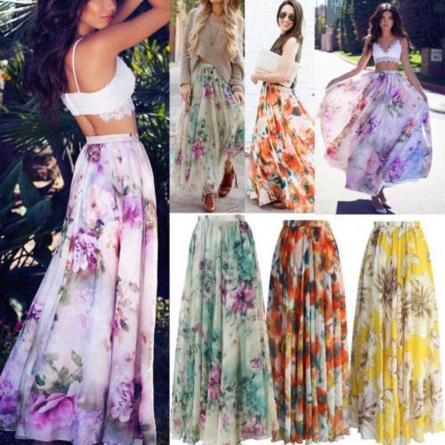 Nouvelle jupe d'été jupe plissée Floraison Floral en mousseline de soie Floral Print Plus Size femmes vêtements taille élastique Beach Wear 4 Styles S-XL