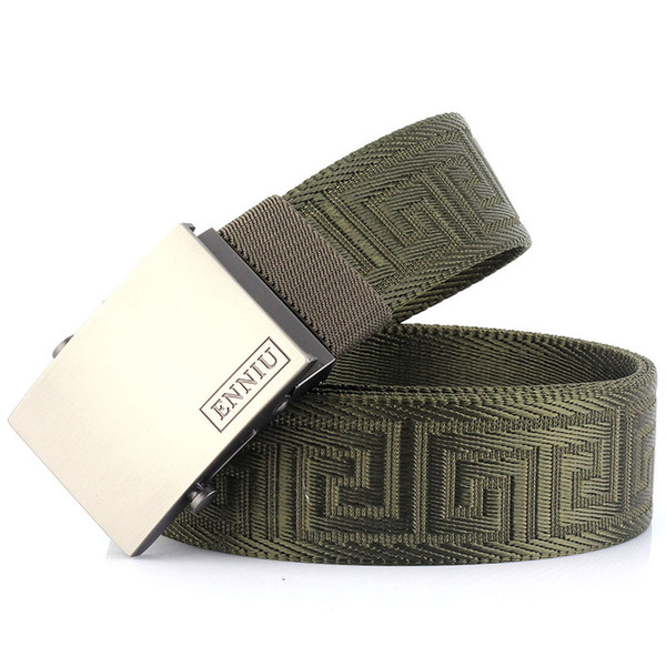 Fashion Canvas belts for men outdoor Nylon automatic buckle trousers Waist belt leisure sports military training belt Accessories new