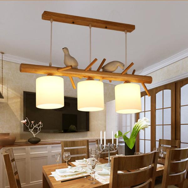 Großhandel Nordic Moderne Restaurant Hängeleuchte 2/3 Kopf Aus Holz ...