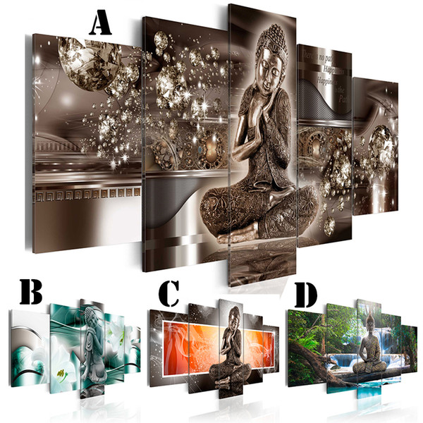 Wall Art Picture Printed Oil Painting Unframed 5pcs/set Home Decor Extra Mirror Border Seat and Sleep Buddha