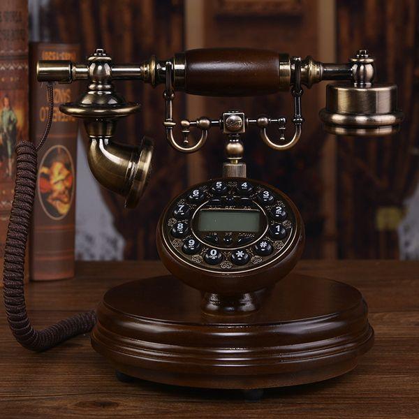 Твердая древесина европейский антикварный телефон ретро главная мода творческий американский фиксированный стационарный старый китайский телефон