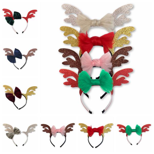 New Christmas cervos Arco Headbands Elk dos desenhos animados Headwear Xmas chifres Lantejoulas acessórios de cabelo chifres Hairstick 8 Cores AAA1300