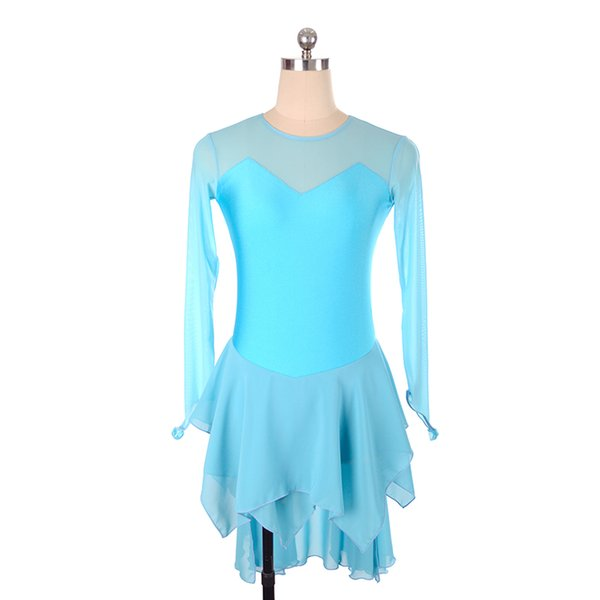 Wholesale White Chiffon Skirt Ice Skating Training Dress With Fingers Jewel Neck Girls Dress Long Sleeve 2018