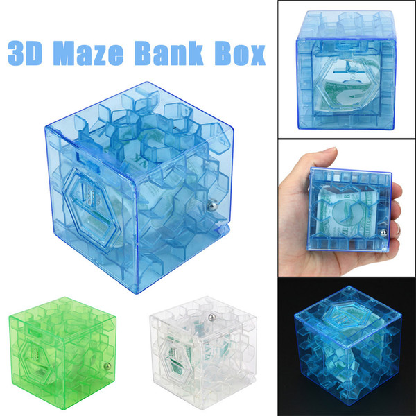 3D Cube Puzzle Money Maze Bank Saving Coin Collection Case Box Fun Brain Game For children kids toys juguetes brinquedos