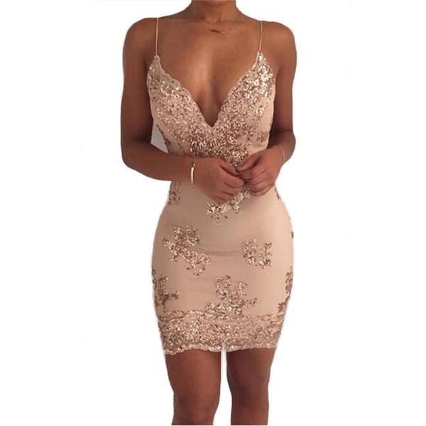 Womens ouro preto lantejoulas dress 2018 new sexy com decote em v sem encosto mulheres vestido de festa de luxo club wear mini vestido de lantejoulas vestidos