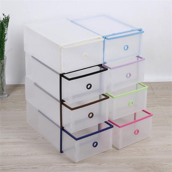 Plastic Shoe Storage Box Multi Color Transparent Double Deck Drawer Style Shoebox Home Organizer Hot Sale 5 1jd XC