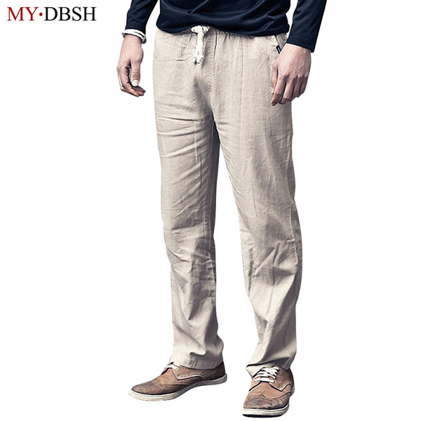 86edb926cb9e High Quality Mens Linen Pants Summer Style Fashion Joggers Solid Color  Casual Loose Cotton And Linen Sweatpants Trousers For Men