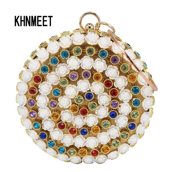 Neue Angekommene Mode Runde Weiße Blume Multicolor Kristall Frauen Hochzeit Geldbörse Clutch Bag Weibliche Wristlets Dame Abendtasche