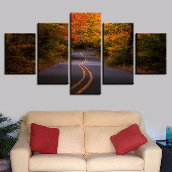 Natural Landscape Pictures Printing Decor Living Room 5 Pieces Highway Red Forest Canvas Paintings Poster Modular Frame Wall Art