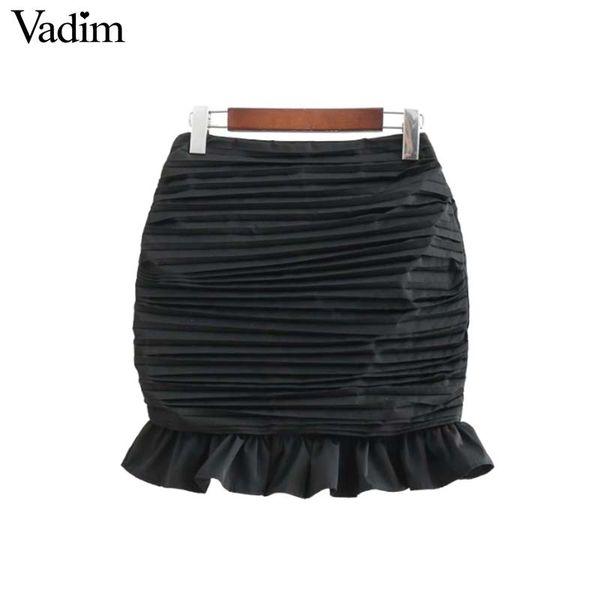 Vadim donne gonna a pieghe nera matita ruffles chic posteriore cerniera slim fit femminile sexy mini gonne casual faldas mujer BA240