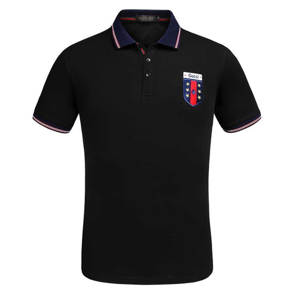 Wholesale 2018 New Luxury Men's Polo Brand Embroidered T-Shirt Italian Fashion Polo High Quality Short Sleeve Top Tiger Print Men's Polo Shi