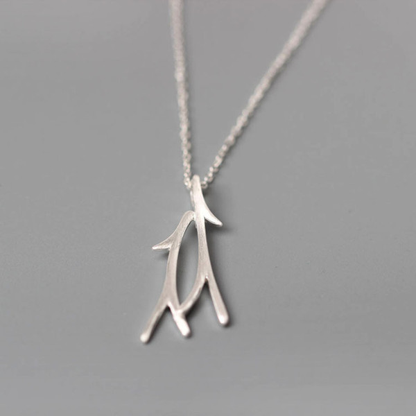 Charms 925 sterling silver pendant necklace Korean Ornaments Wire drawing Branch luxury chain Fashion sets jewelry valentines day gift women