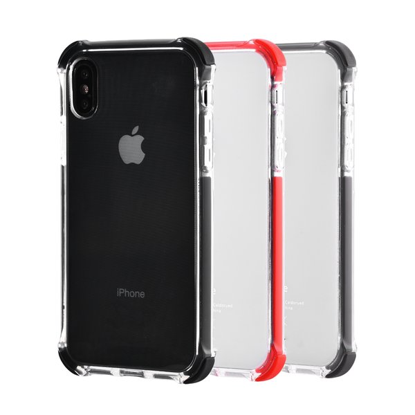 Crystal Clear HD Transparent TPU Back Cover Case with Flexibility Soft & Tough Shock Absorption Bumper Aseismic Airbag for iPhone X Goophone