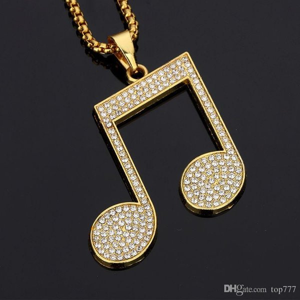 2018 Musical Note Pendant Necklace Alloy Bling Crystal Rhinestone Trendy Gold Music Note Symbol Necklaces Hip Hop Jewelry Gift